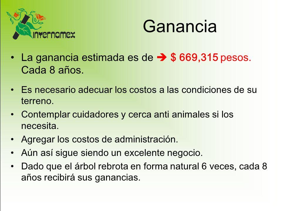 Ganancia La ganancia estimada es de $ 669,315 pesos. Cada 8 años. Es necesario adecuar los costos a las condiciones de su terreno. Contemplar cuidador