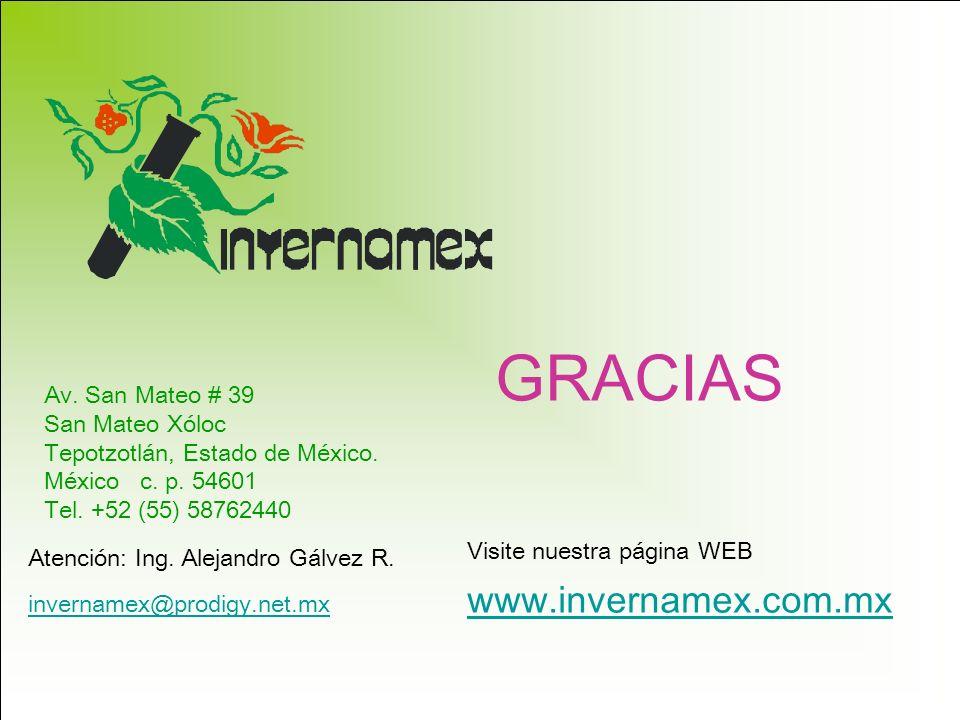 Av. San Mateo # 39 San Mateo Xóloc Tepotzotlán, Estado de México. México c. p. 54601 Tel. +52 (55) 58762440 Atención: Ing. Alejandro Gálvez R. www.inv