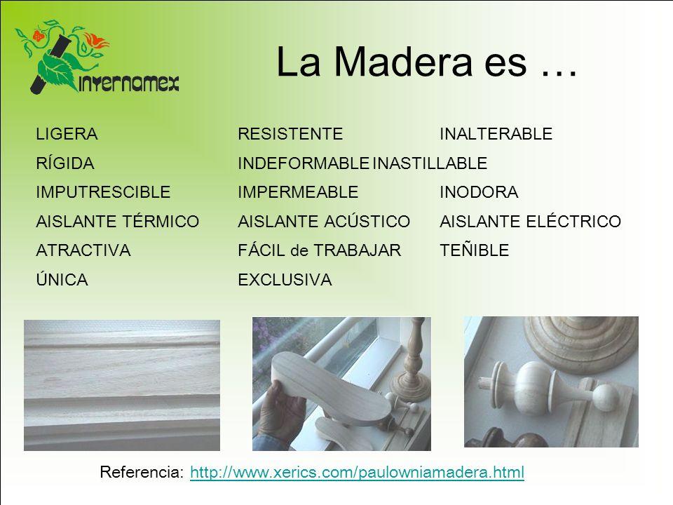 La Madera es … Referencia: http://www.xerics.com/paulowniamadera.htmlhttp://www.xerics.com/paulowniamadera.html LIGERARESISTENTEINALTERABLE RÍGIDAINDE