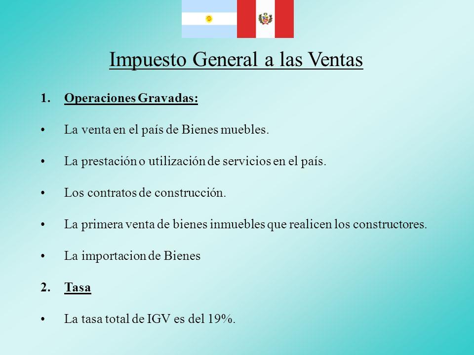 Impuesto General a las Ventas 1.Operaciones Gravadas: La venta en el país de Bienes muebles. La prestación o utilización de servicios en el país. Los