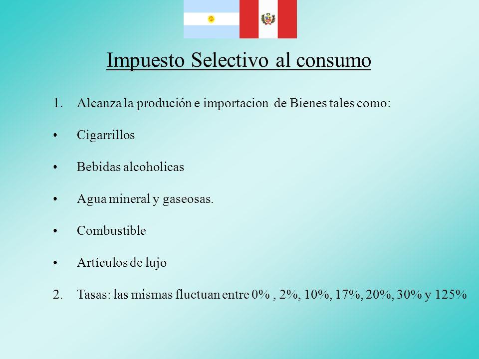 Impuesto Selectivo al consumo 1.Alcanza la produción e importacion de Bienes tales como: Cigarrillos Bebidas alcoholicas Agua mineral y gaseosas. Comb