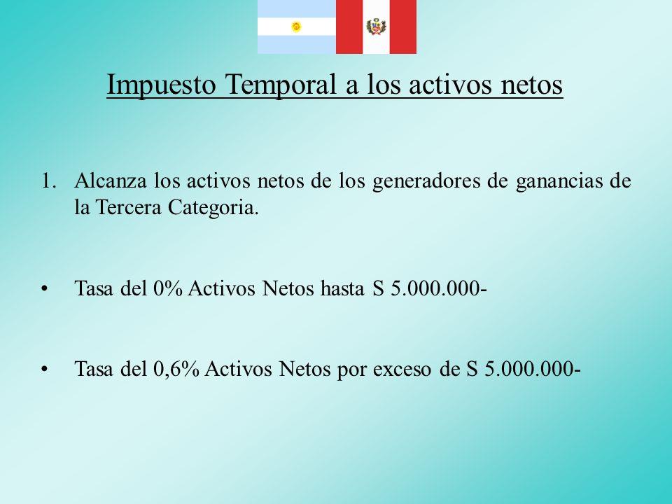 Impuesto Temporal a los activos netos 1.Alcanza los activos netos de los generadores de ganancias de la Tercera Categoria. Tasa del 0% Activos Netos h