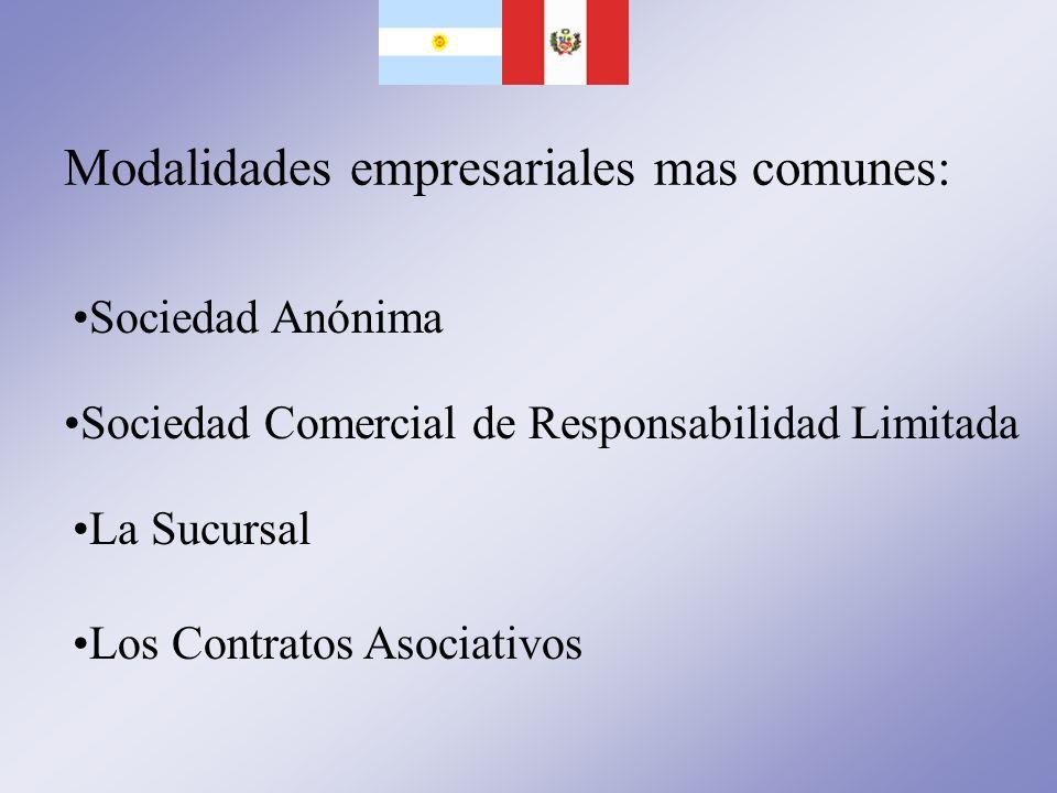Modalidades empresariales mas comunes: Sociedad Anónima Sociedad Comercial de Responsabilidad Limitada La Sucursal Los Contratos Asociativos