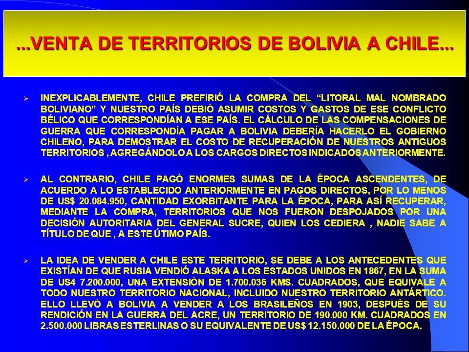 ...VENTA DE TERRITORIOS DE BOLIVIA A CHILE... INEXPLICABLEMENTE, CHILE PREFIRIÓ LA COMPRA DEL LITORAL MAL NOMBRADO BOLIVIANO Y NUESTRO PAÍS DEBIÓ ASUM