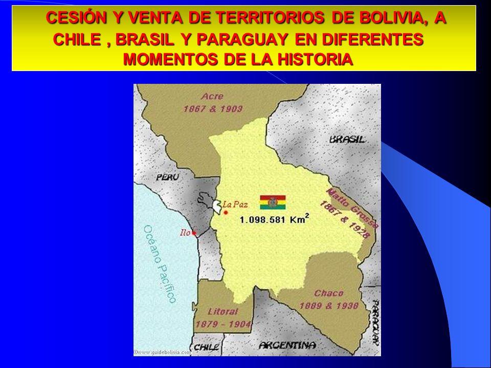 CESIÓN Y VENTA DE TERRITORIOS DE BOLIVIA, A CHILE, BRASIL Y PARAGUAY EN DIFERENTES MOMENTOS DE LA HISTORIA CESIÓN Y VENTA DE TERRITORIOS DE BOLIVIA, A
