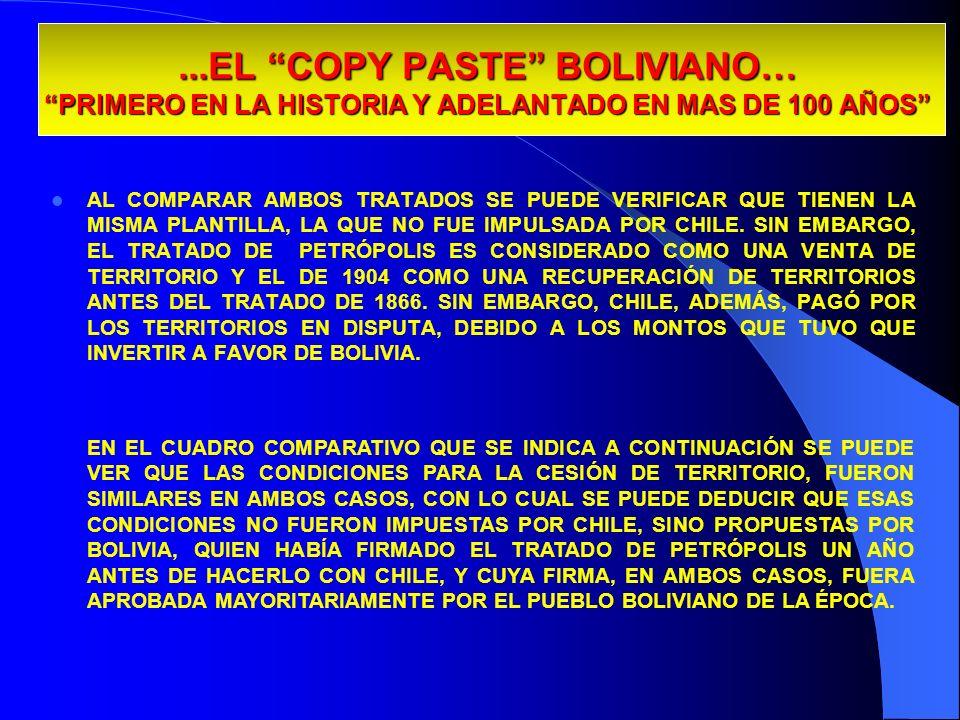 ...EL COPY PASTE BOLIVIANO… PRIMERO EN LA HISTORIA Y ADELANTADO EN MAS DE 100 AÑOS AL COMPARAR AMBOS TRATADOS SE PUEDE VERIFICAR QUE TIENEN LA MISMA P