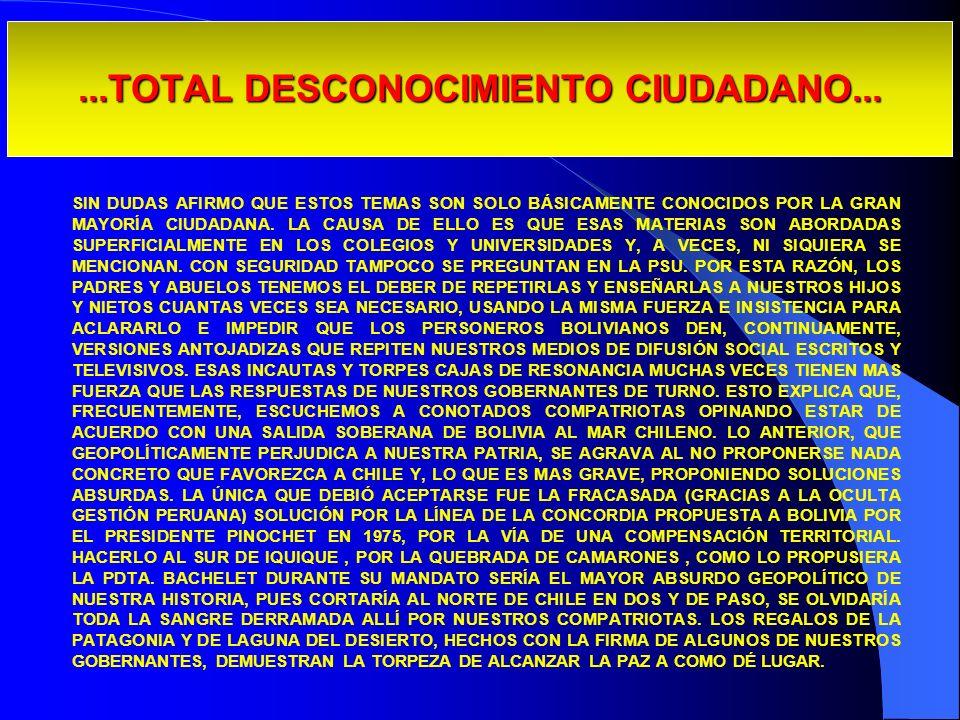 ...TOTAL DESCONOCIMIENTO CIUDADANO... SIN DUDAS AFIRMO QUE ESTOS TEMAS SON SOLO BÁSICAMENTE CONOCIDOS POR LA GRAN MAYORÍA CIUDADANA. LA CAUSA DE ELLO