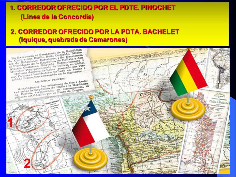 1. CORREDOR OFRECIDO POR EL PDTE. PINOCHET (Linea de la Concordia) 2. CORREDOR OFRECIDO POR LA PDTA. BACHELET (Iquique, quebrada de Camarones) 1. CORR