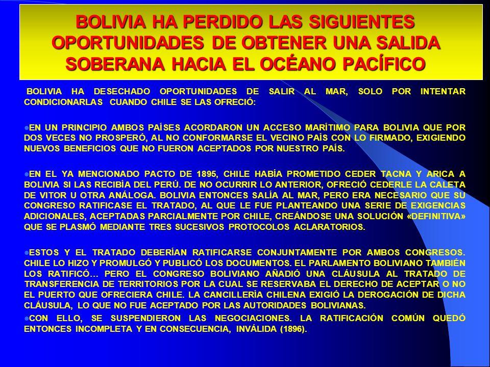 BOLIVIA HA PERDIDO LAS SIGUIENTES OPORTUNIDADES DE OBTENER UNA SALIDA SOBERANA HACIA EL OCÉANO PACÍFICO BOLIVIA HA DESECHADO OPORTUNIDADES DE SALIR AL