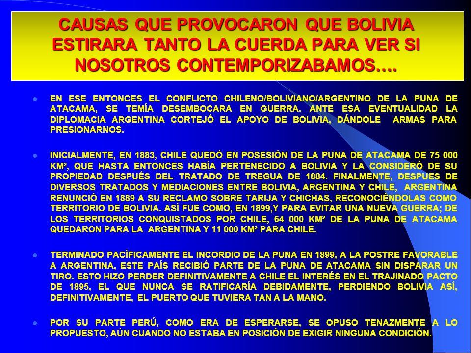 CAUSAS QUE PROVOCARON QUE BOLIVIA ESTIRARA TANTO LA CUERDA PARA VER SI NOSOTROS CONTEMPORIZABAMOS…. EN ESE ENTONCES EL CONFLICTO CHILENO/BOLIVIANO/ARG