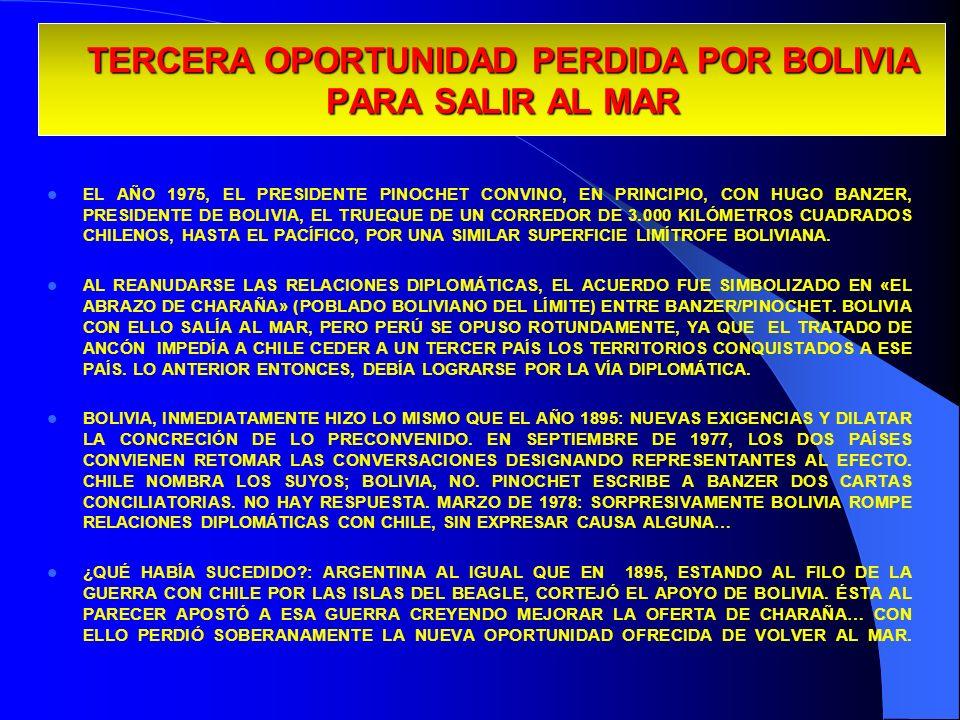 TERCERA OPORTUNIDAD PERDIDA POR BOLIVIA PARA SALIR AL MAR EL AÑO 1975, EL PRESIDENTE PINOCHET CONVINO, EN PRINCIPIO, CON HUGO BANZER, PRESIDENTE DE BO
