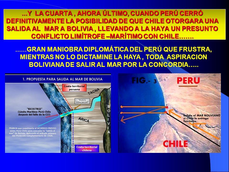...Y LA CUARTA, AHORA ÚLTIMO, CUANDO PERÚ CERRÓ DEFINITIVAMENTE LA POSIBILIDAD DE QUE CHILE OTORGARA UNA SALIDA AL MAR A BOLIVIA, LLEVANDO A LA HAYA U
