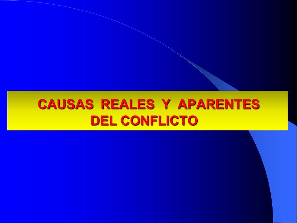 CAUSAS REALES Y APARENTES DEL CONFLICTO CAUSAS REALES Y APARENTES DEL CONFLICTO
