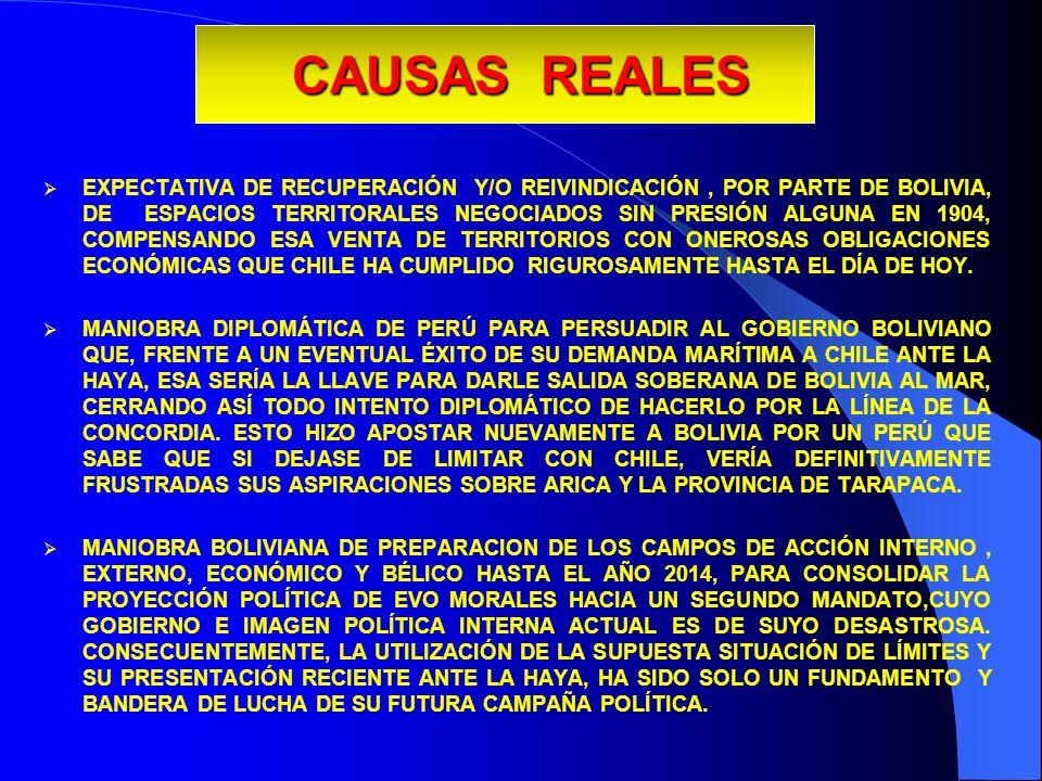 CAUSAS REALES EXPECTATIVA DE RECUPERACIÓN Y/O REIVINDICACIÓN, POR PARTE DE BOLIVIA, DE ESPACIOS TERRITORALES NEGOCIADOS SIN PRESIÓN ALGUNA EN 1904, CO