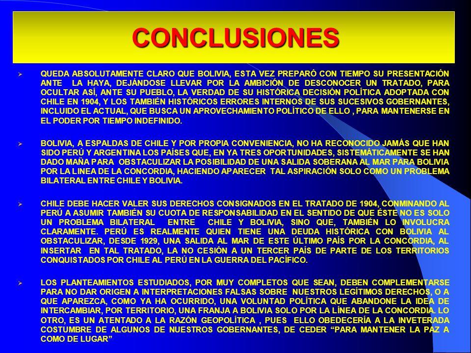 CONCLUSIONES QUEDA ABSOLUTAMENTE CLARO QUE BOLIVIA, ESTA VEZ PREPARÓ CON TIEMPO SU PRESENTACIÓN ANTE LA HAYA, DEJÁNDOSE LLEVAR POR LA AMBICIÓN DE DESC