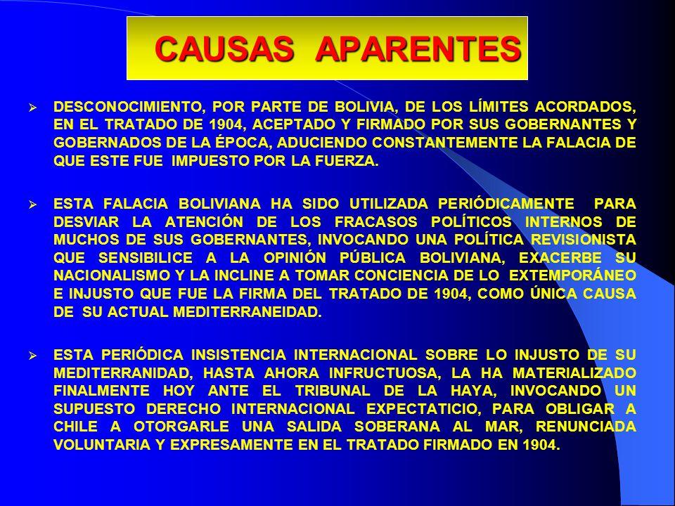 CAUSAS APARENTES DESCONOCIMIENTO, POR PARTE DE BOLIVIA, DE LOS LÍMITES ACORDADOS, EN EL TRATADO DE 1904, ACEPTADO Y FIRMADO POR SUS GOBERNANTES Y GOBE