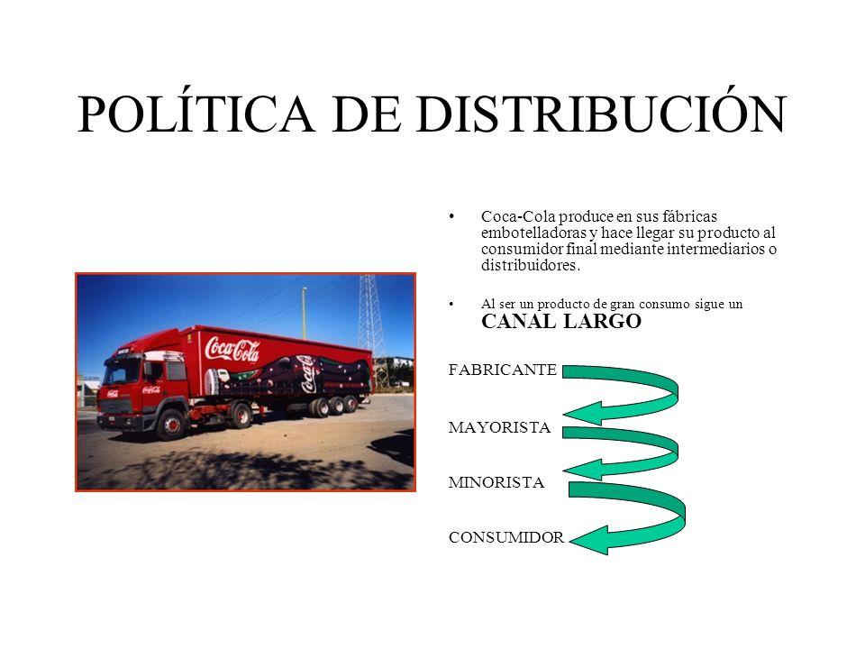 POLÍTICA DE DISTRIBUCIÓN Coca-Cola produce en sus fábricas embotelladoras y hace llegar su producto al consumidor final mediante intermediarios o dist