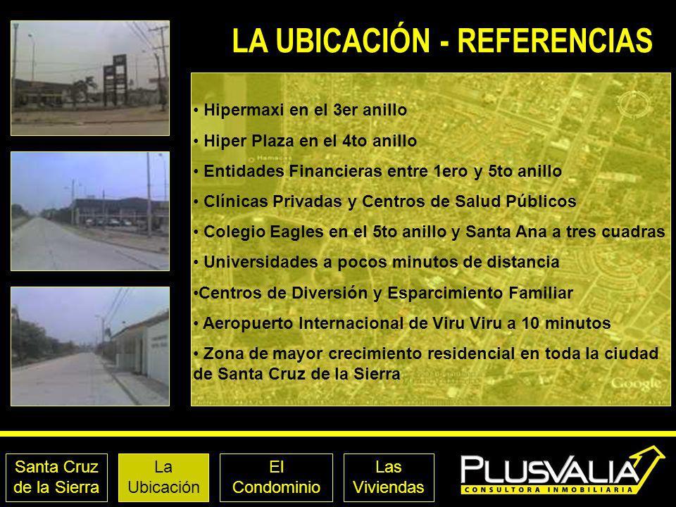 Santa Cruz de la Sierra La Ubicación El Condominio Las Viviendas LA UBICACIÓN - REFERENCIAS Hipermaxi en el 3er anillo Hiper Plaza en el 4to anillo En