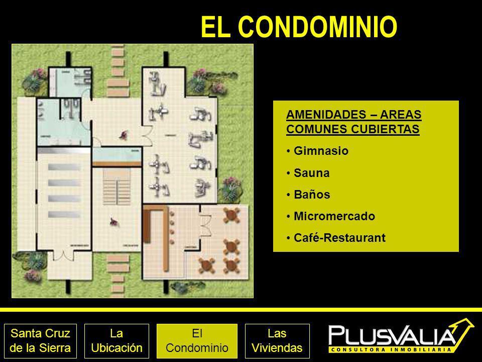 Santa Cruz de la Sierra La Ubicación El Condominio Las Viviendas EL CONDOMINIO AMENIDADES – AREAS COMUNES CUBIERTAS Gimnasio Sauna Baños Micromercado