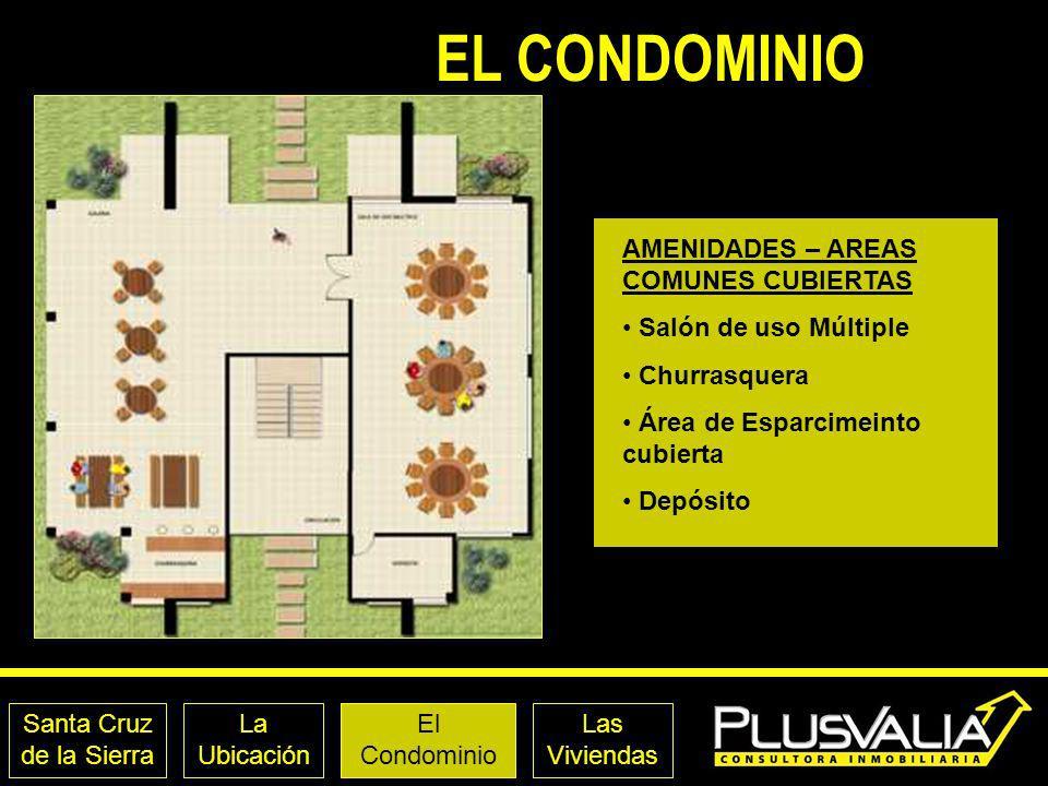 Santa Cruz de la Sierra La Ubicación El Condominio Las Viviendas EL CONDOMINIO AMENIDADES – AREAS COMUNES CUBIERTAS Salón de uso Múltiple Churrasquera
