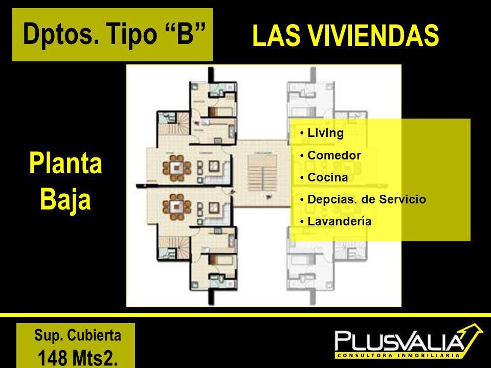 Planta Baja Living Comedor Cocina Depcias. de Servicio Lavandería Sup. Cubierta 148 Mts2. Dptos. Tipo B LAS VIVIENDAS
