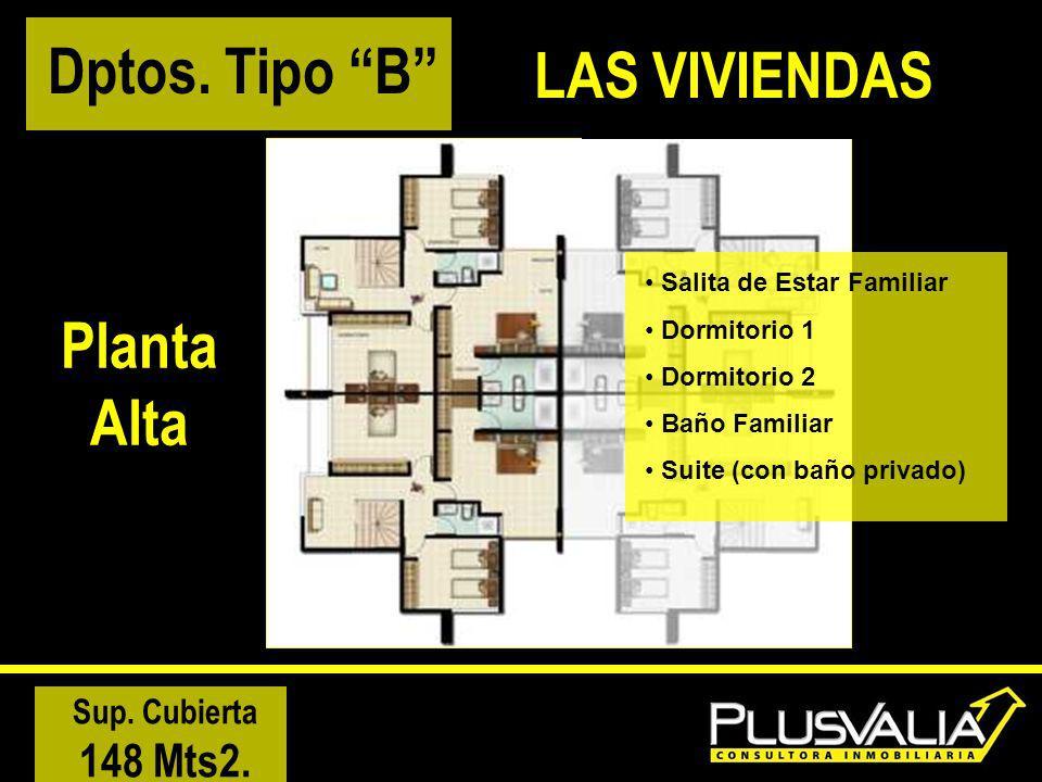 Planta Alta Salita de Estar Familiar Dormitorio 1 Dormitorio 2 Baño Familiar Suite (con baño privado) Sup. Cubierta 148 Mts2. Dptos. Tipo B LAS VIVIEN