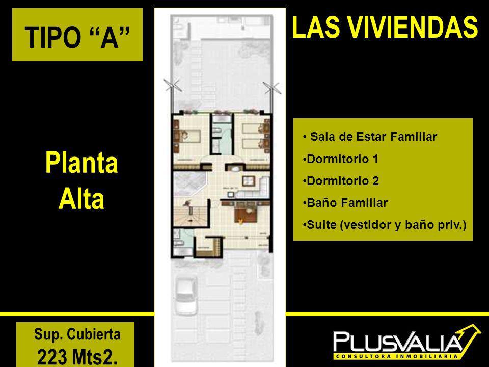 TIPO A Planta Alta Sala de Estar Familiar Dormitorio 1 Dormitorio 2 Baño Familiar Suite (vestidor y baño priv.) Sup. Cubierta 223 Mts2.