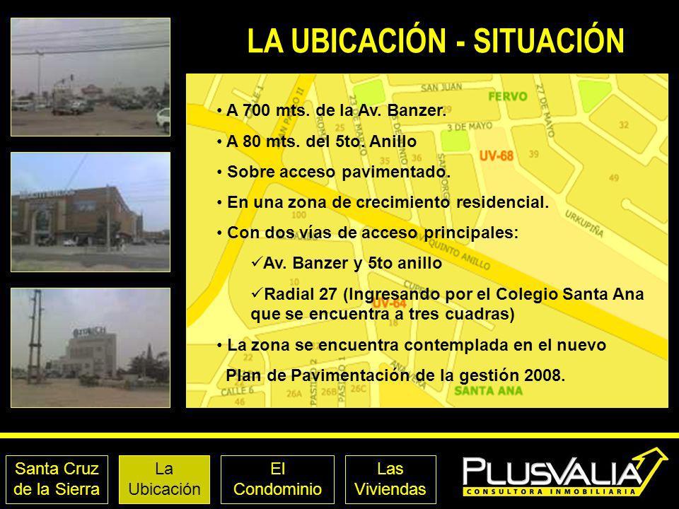Santa Cruz de la Sierra La Ubicación El Condominio Las Viviendas LA UBICACIÓN - SITUACIÓN A 700 mts. de la Av. Banzer. A 80 mts. del 5to. Anillo Sobre
