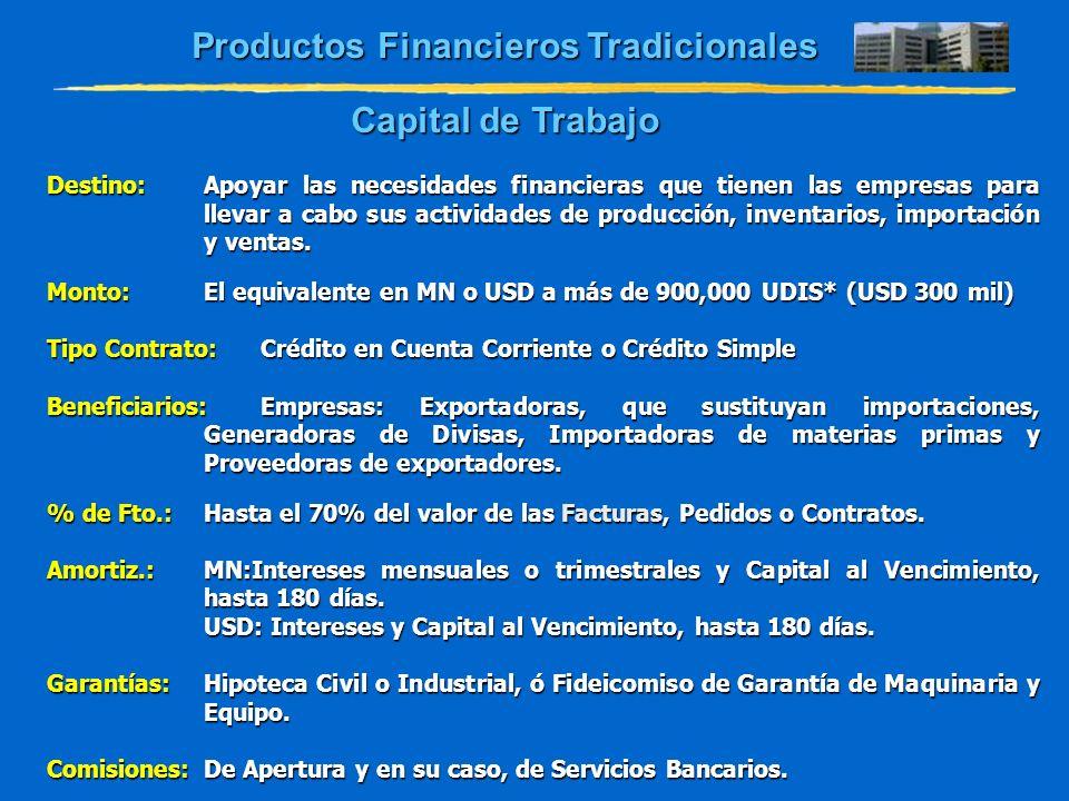 Destino:Apoyar las necesidades financieras que tienen las empresas para llevar a cabo sus actividades de producción, inventarios, importación y ventas