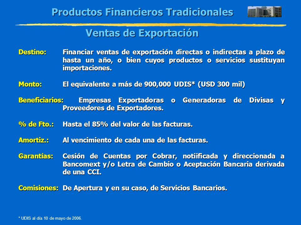 Productos Financieros Tradicionales Ventas de Exportación Destino:Financiar ventas de exportación directas o indirectas a plazo de hasta un año, o bie