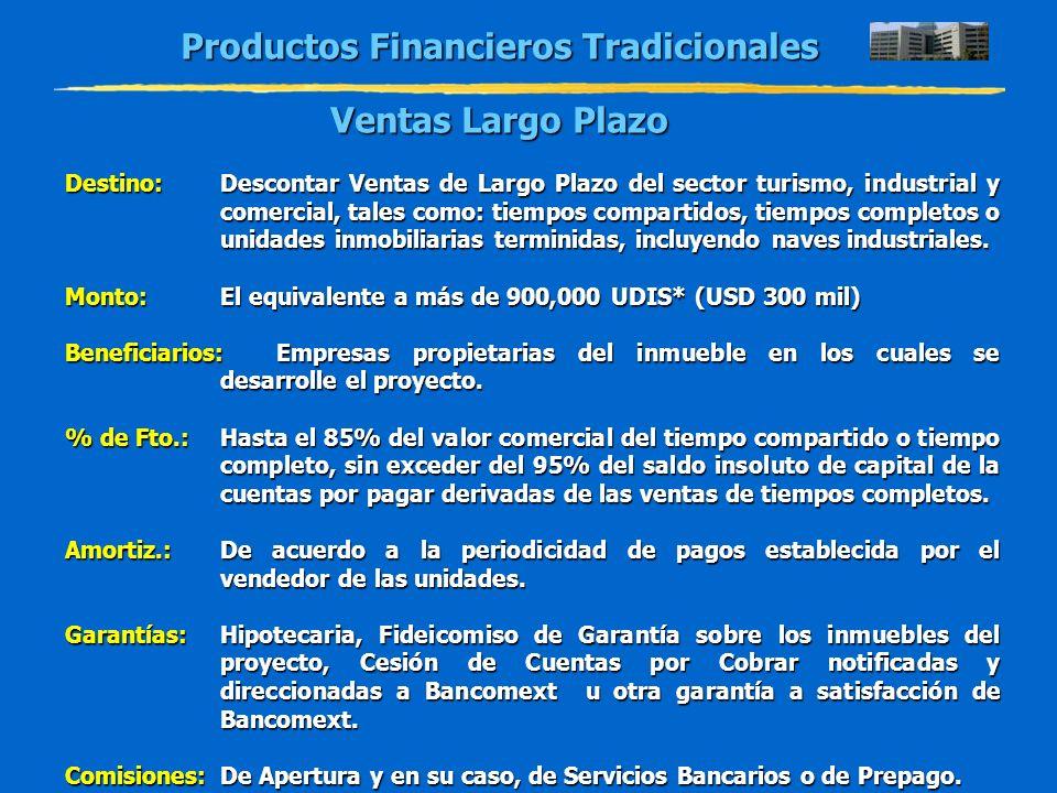 Productos Financieros Tradicionales Ventas Largo Plazo Destino:Descontar Ventas de Largo Plazo del sector turismo, industrial y comercial, tales como: