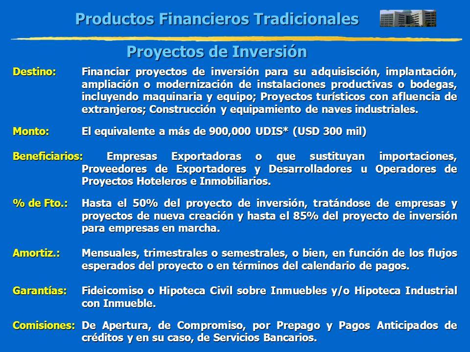 Productos Financieros Tradicionales Proyectos de Inversión Destino:Financiar proyectos de inversión para su adquisisción, implantación, ampliación o m