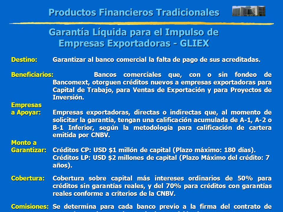Productos Financieros Tradicionales Garantía Líquida para el Impulso de Empresas Exportadoras - GLIEX Destino:Garantizar al banco comercial la falta d
