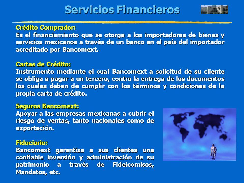 Servicios Financieros Crédito Comprador: Es el financiamiento que se otorga a los importadores de bienes y servicios mexicanos a través de un banco en
