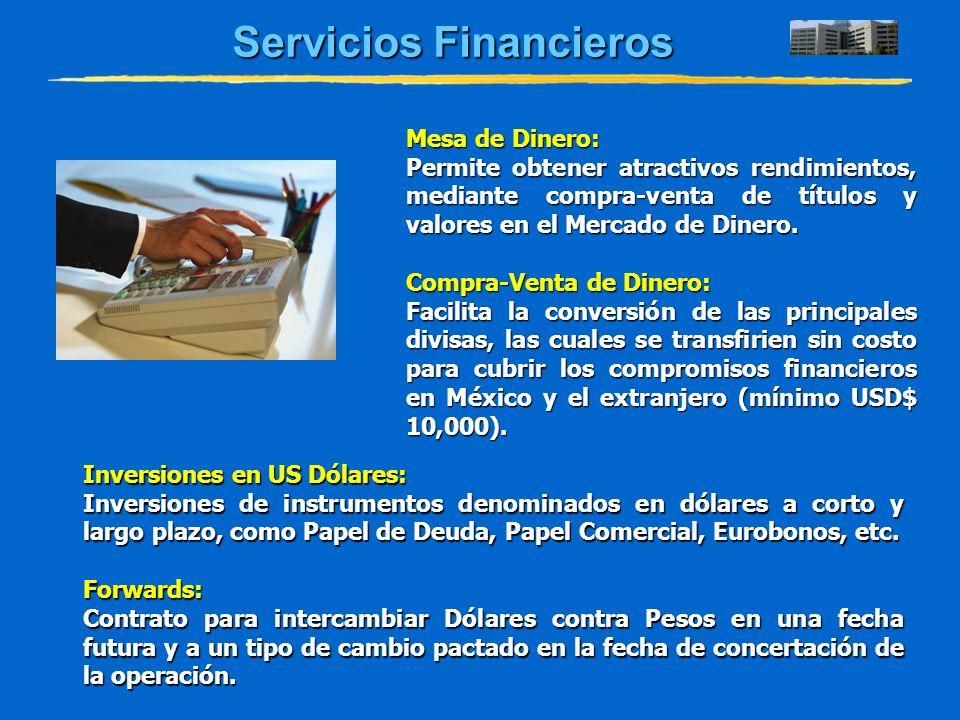 Servicios Financieros Mesa de Dinero: Permite obtener atractivos rendimientos, mediante compra-venta de títulos y valores en el Mercado de Dinero. Com