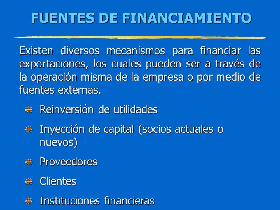 FUENTES DE FINANCIAMIENTO Existen diversos mecanismos para financiar las exportaciones, los cuales pueden ser a través de la operación misma de la emp