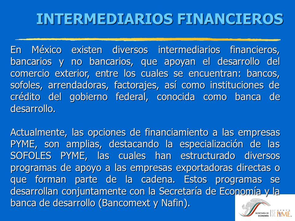INTERMEDIARIOS FINANCIEROS INTERMEDIARIOS FINANCIEROS En México existen diversos intermediarios financieros, bancarios y no bancarios, que apoyan el d
