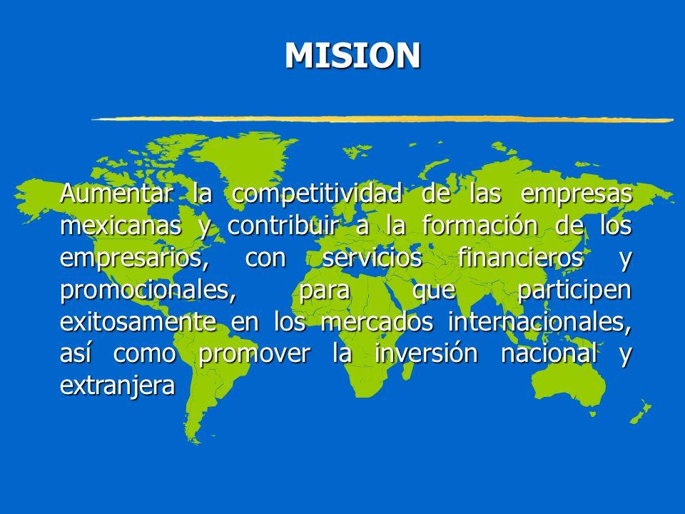 MISION MISION Aumentar la competitividad de las empresas mexicanas y contribuir a la formación de los empresarios, con servicios financieros y promoci