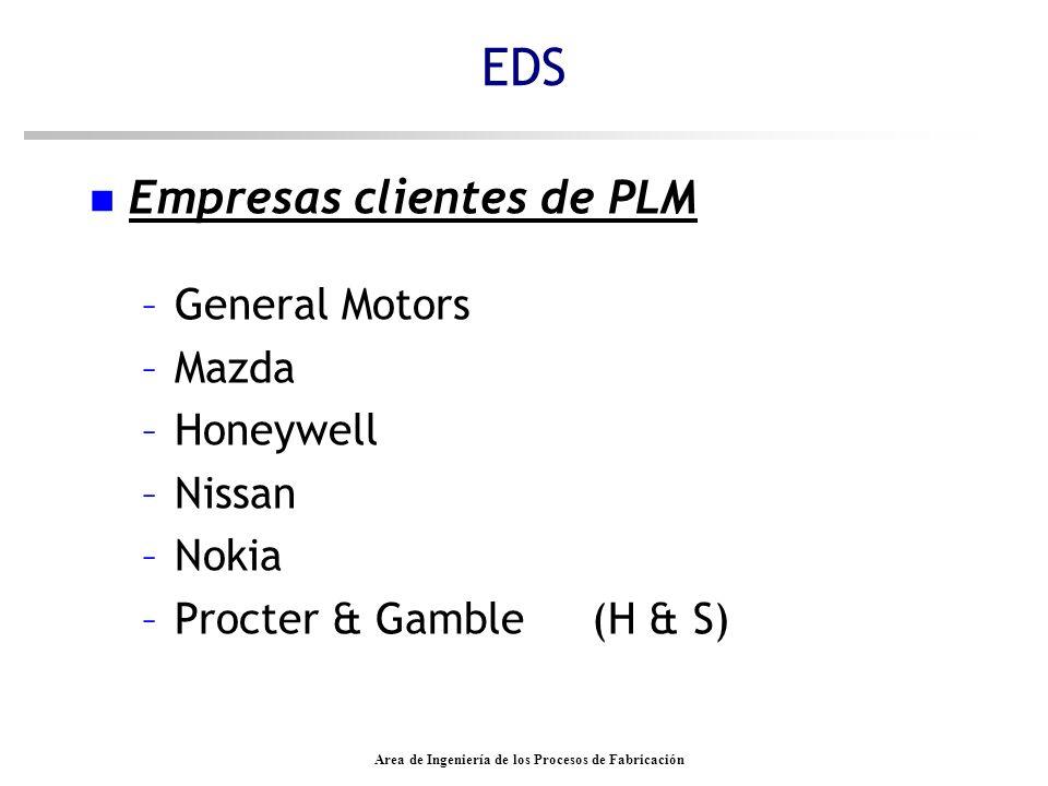 Area de Ingeniería de los Procesos de Fabricación n Empresas clientes de PLM –General Motors –Mazda –Honeywell –Nissan –Nokia –Procter & Gamble (H & S