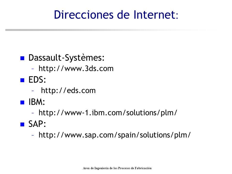 Area de Ingeniería de los Procesos de Fabricación Direcciones de Internet : n Dassault-Systèmes: –http://www.3ds.com n EDS: – http://eds.com n IBM: –h