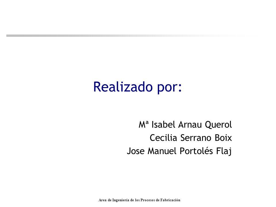 Area de Ingeniería de los Procesos de Fabricación Realizado por: Mª Isabel Arnau Querol Cecilia Serrano Boix Jose Manuel Portolés Flaj