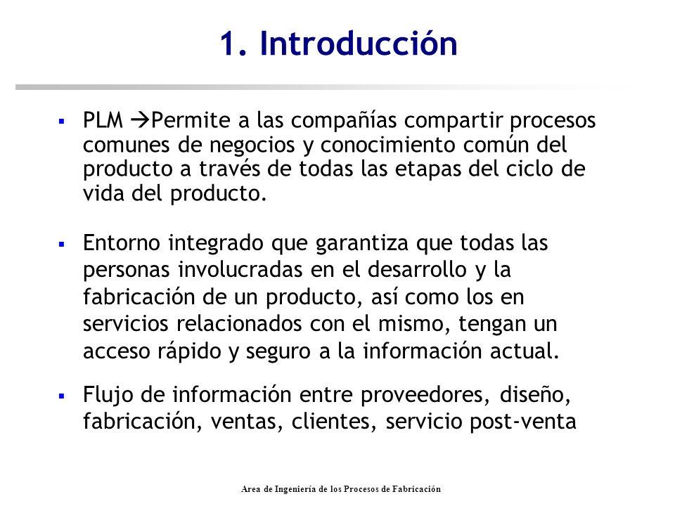 Area de Ingeniería de los Procesos de Fabricación Introducción n Facilita y gestiona el flujo de información durante el ciclo de vida del producto n Herramienta virtual n Agiliza las conexiones entre departamentos.
