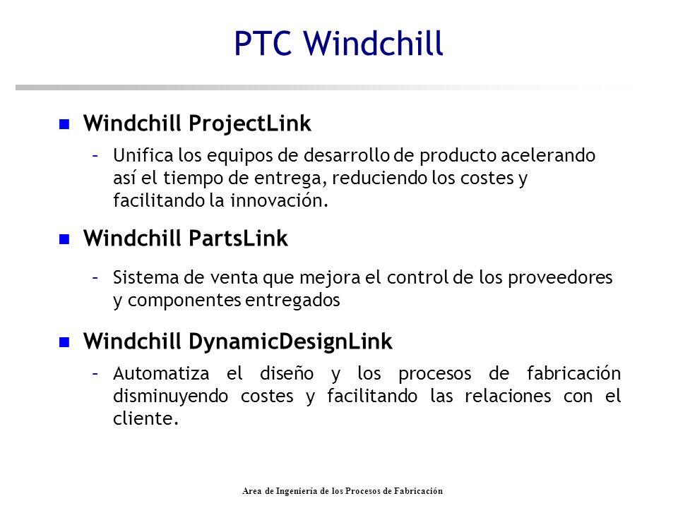 Area de Ingeniería de los Procesos de Fabricación PTC Windchill Windchill PDMLink –Se utiliza para reunir información del producto a lo largo del ciclo de vida del producto.