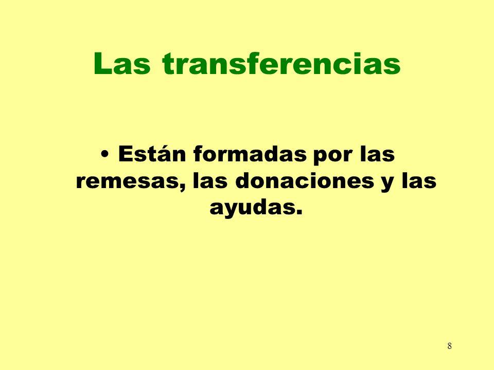 8 Las transferencias Están formadas por las remesas, las donaciones y las ayudas.