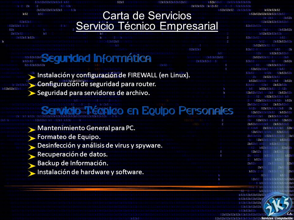 Carta de Servicios Servicio Técnico Empresarial Instalación y configuración de FIREWALL (en Linux). Configuración de seguridad para router. Seguridad