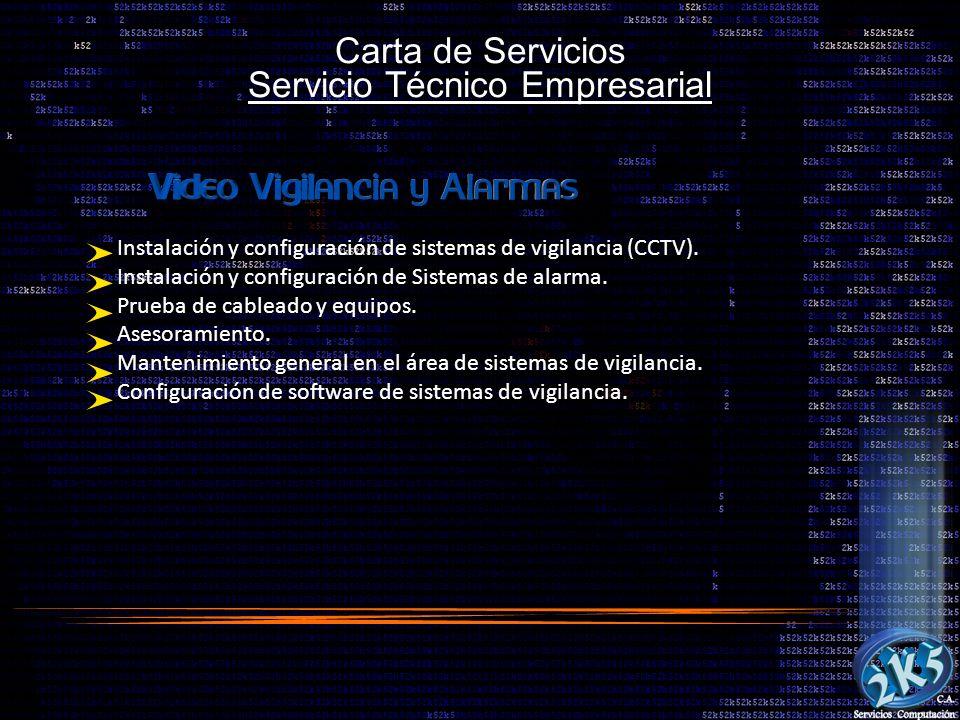 Carta de Servicios Servicio Técnico Empresarial Instalación y configuración de sistemas de vigilancia (CCTV). Instalación y configuración de Sistemas