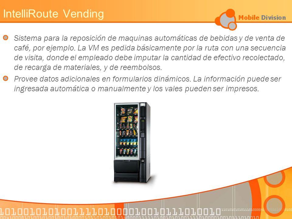 IntelliRoute Vending Sistema para la reposición de maquinas automáticas de bebidas y de venta de café, por ejemplo.