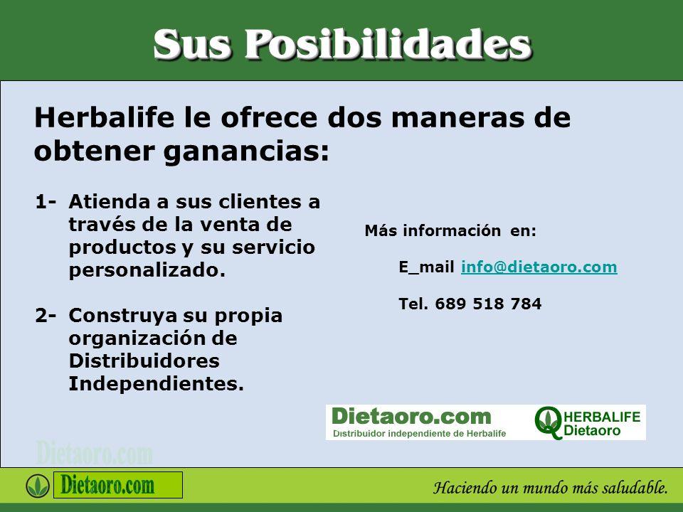 Sus Posibilidades Herbalife le ofrece dos maneras de obtener ganancias: 1- Atienda a sus clientes a través de la venta de productos y su servicio pers