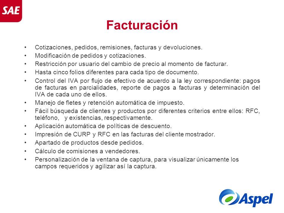 Facturación Cotizaciones, pedidos, remisiones, facturas y devoluciones. Modificación de pedidos y cotizaciones. Restricción por usuario del cambio de