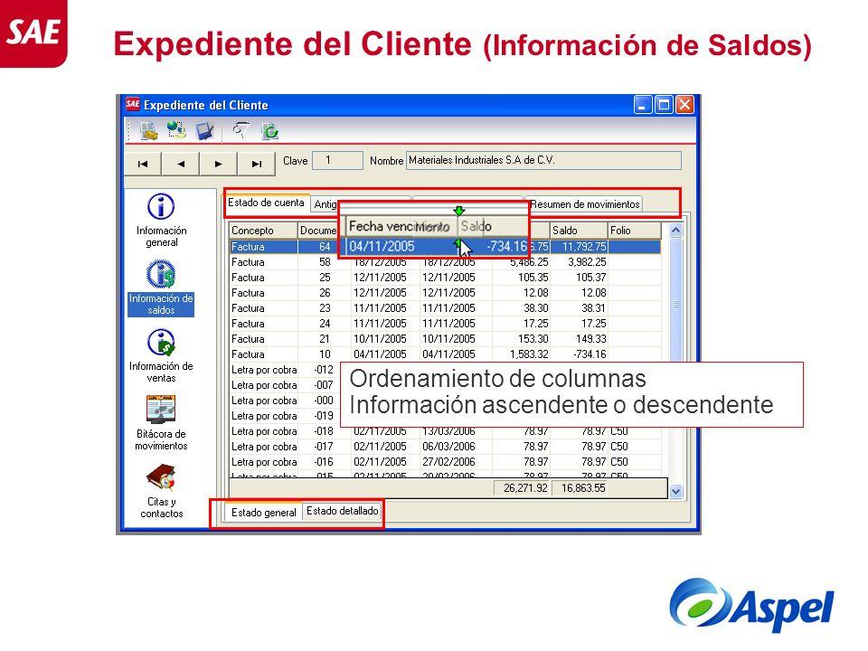 Expediente del Cliente (Información de Saldos) Ordenamiento de columnas Información ascendente o descendente